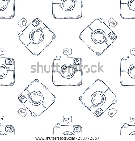 Retro camera seamless pattern - stock vector
