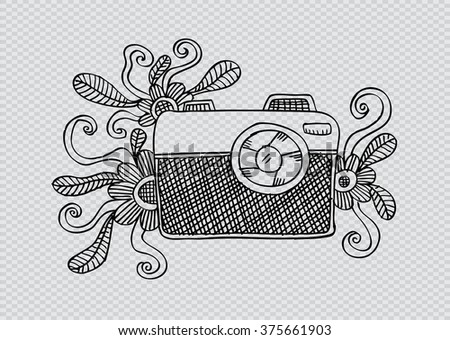 Retro camera. Sketchy style. - stock vector