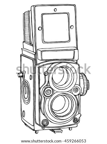Retro camera. Stylized camera. Line art. Black and white drawing by hand. Graphic arts. Doodle. Tattoo. - stock vector