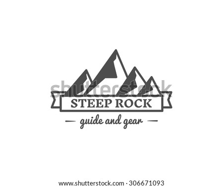 Retro camp badge, outdoors logo, emblem and label. Steep Rock concept, monochrome design. Best for travel sites, web app, adventure magazines. Easy to change color. Vector illustration - stock vector