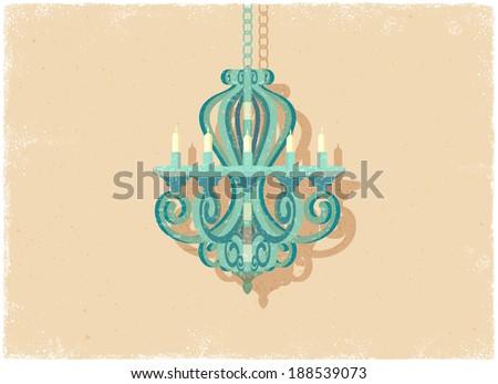 Retro candle chandelier in vintage vector style - stock vector