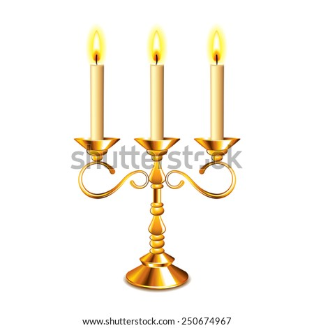 Retro candlestick with candles isolated on white photo-realistic vector illustration - stock vector