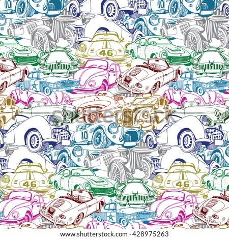 Retro Car Collage  - stock vector