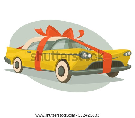 Retro car is a present. Vector illustration. - stock vector