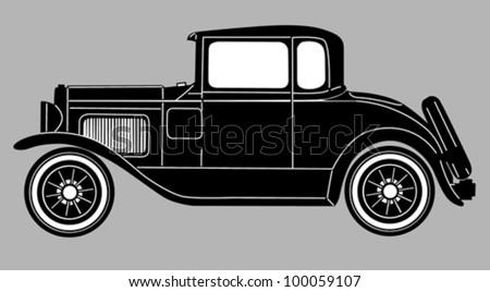 retro car on gray  background, vector illustration - stock vector