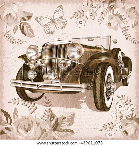 Retro car on vintage background. - stock vector