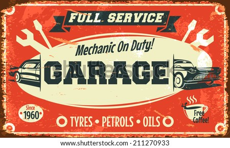 Retro car service sign. Vector illustration. - stock vector
