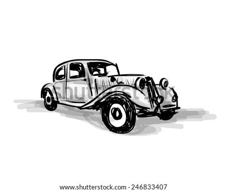 Retro car sketch for your design. Vector illustration - stock vector
