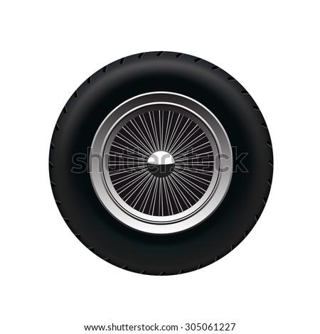 Retro Car Wheel - stock vector