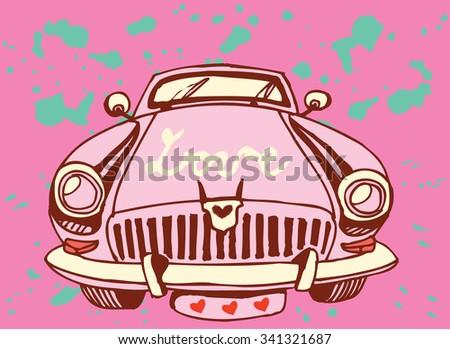 Retro Car with symbols of Love - stock vector