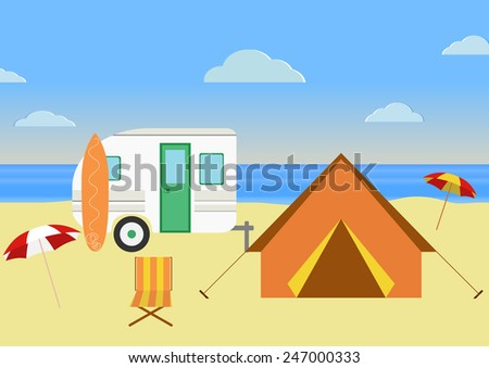 Retro caravan on the beach, summer vacation, vector illustration,retro background. Flat design - stock vector