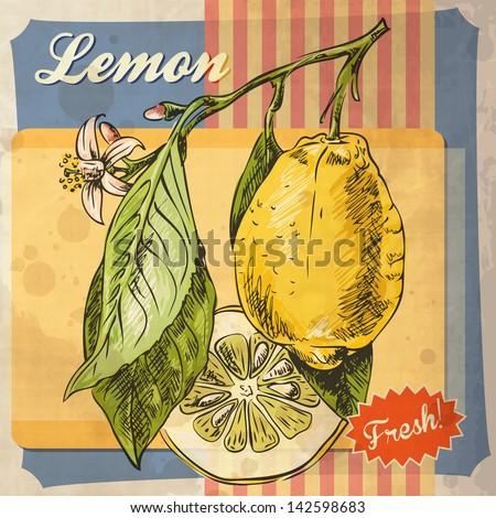 Retro card design with lemon - stock vector