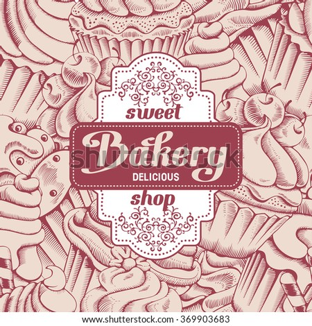 Retro card design with sweet bakery decorated cupcakes hand drawn in vintage engraved style. Vector illustration.  - stock vector