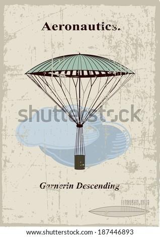 Retro card, Garnerin Descending in the clouds - stock vector