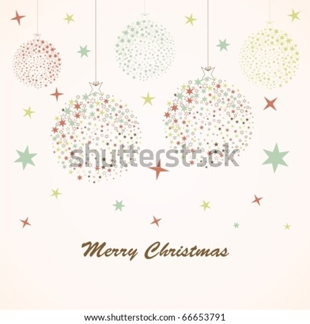 Retro card with Christmas ball - stock vector