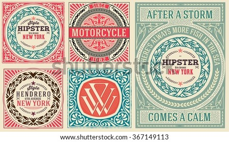 Retro cards set, with Floral Details - stock vector