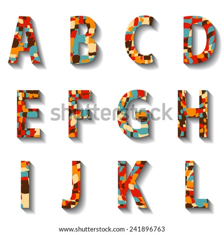 Retro Carnival Alphabet with Numbers. Vector illustration. - stock vector
