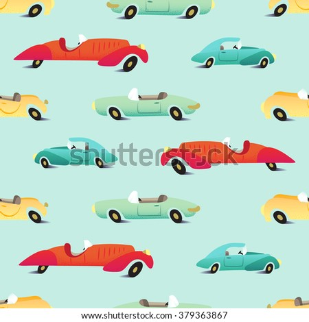 Retro cars seamless pattern with shadow under wheels on mint background - stock vector