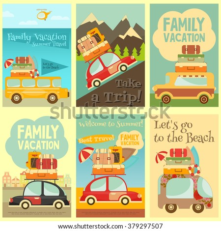 Retro Cars with Luggage on Roof. Travel Car. Mountain, Urban, Sea Landscape. Mini Posters Set. Vector Illustration. - stock vector