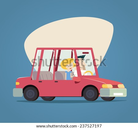 Retro Cartoon Car Happy Male and Female Characters Icon Modern Stylish Background Flat Design Vector Illustration - stock vector
