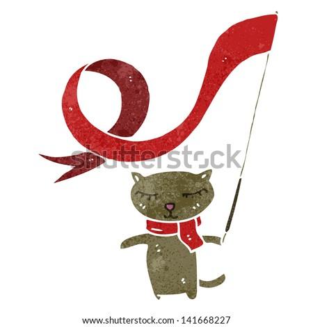 retro cartoon cat waving flag - stock vector