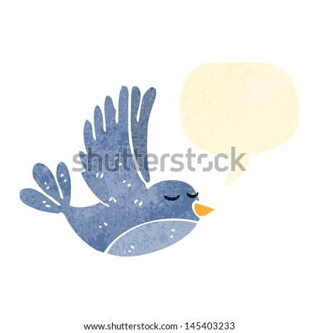 retro cartoon flying bird with speech bubble - stock vector
