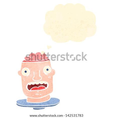 retro cartoon gross head with exposed brain - stock vector