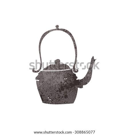 retro cartoon kettle - stock vector