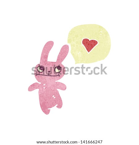 retro cartoon pink rabbit - stock vector