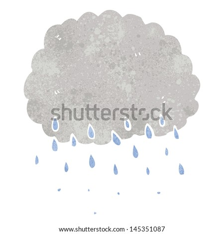 retro cartoon rain cloud - stock vector