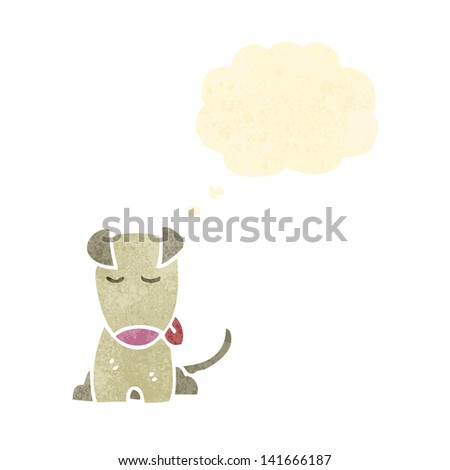 retro cartoon sitting dog with thought bubble - stock vector