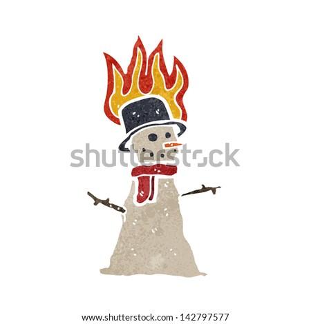 retro cartoon snowman melting - stock vector