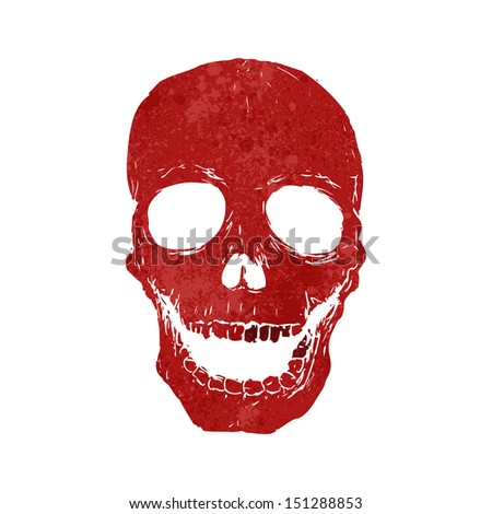 retro cartoon spooky skull - stock vector