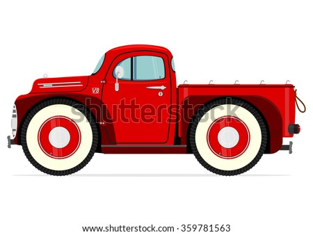 Retro cartoon truck on a white background. Vector - stock vector