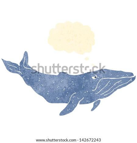 retro cartoon whale - stock vector