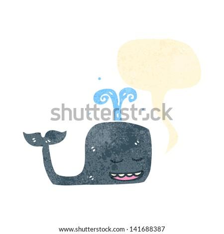 retro cartoon whale with speech bubble - stock vector