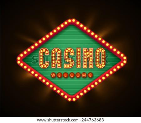 retro casino glowing banner - stock vector