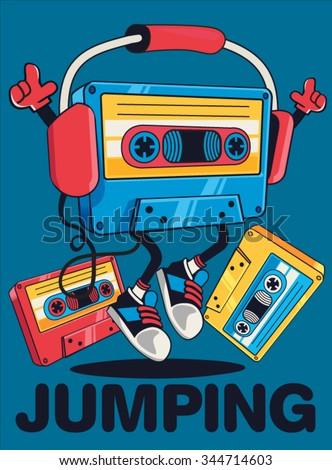 retro cassette character design for tee  - stock vector