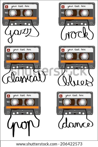 Retro cassette tape with tape pulled out to spell pop, rock, classical, blues, jazz and dance. vector art image illustration, isolated on white background - stock vector