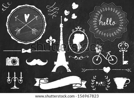 Retro chalk elements and icons set for retro design. Paris style. With bicycle, ribbon, mustache, bow, tower and camera. Vector illustration. Chalkboard background.  - stock vector