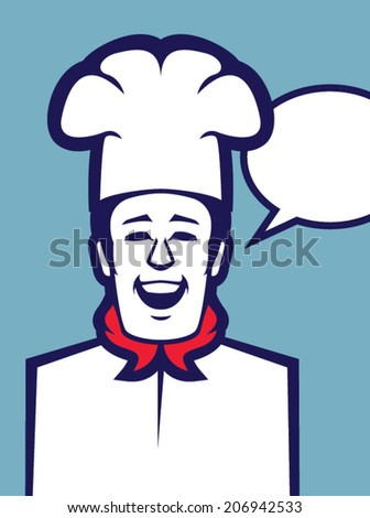 Retro chef illustration with speech bubble on blue background/Talking Chef Character Vector - stock vector