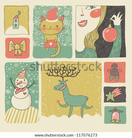 Retro Christmas and New Year set in vector. Cute cartoon style - stock vector