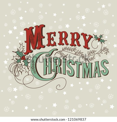 Retro Christmas Card. Merry Christmas lettering - stock vector
