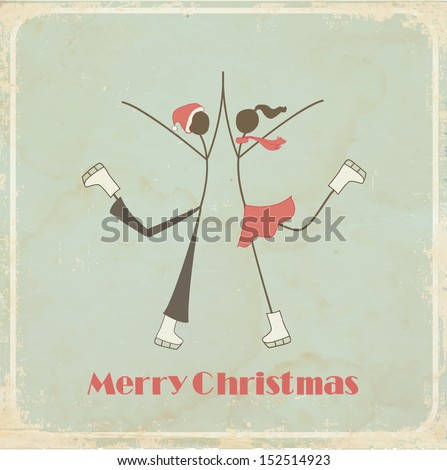 Retro Christmas card: teenagers on a skating ring  - stock vector