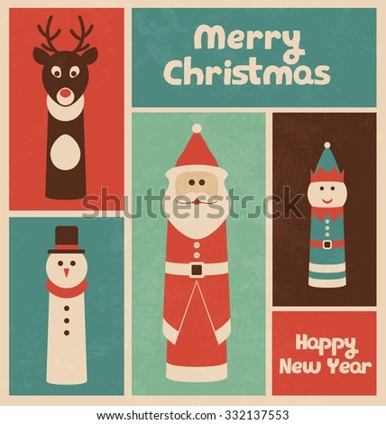 Retro Christmas Design with Finger Puppets - stock vector