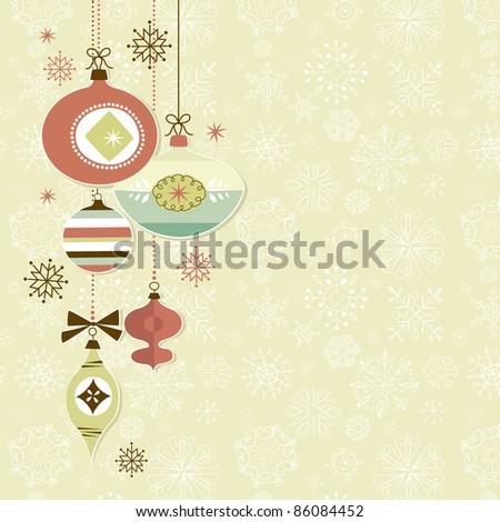 Retro Christmas Ornaments - stock vector