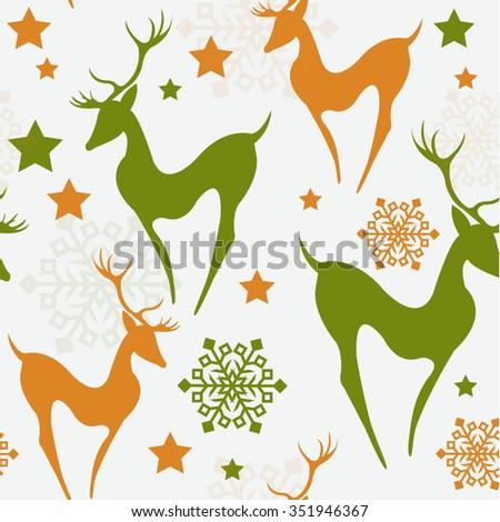 Retro Christmas pattern Seamless christmas background - stock vector