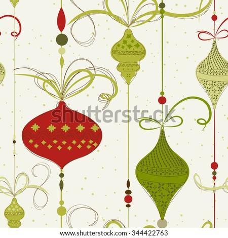Retro Christmas pattern Vector Seamless Pattern - stock vector