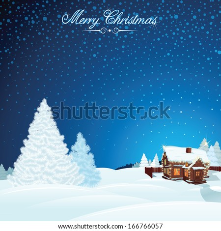 Retro Christmas Scene. Winter Landscape with Decorated House. Vector Illustration - stock vector