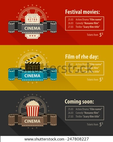 Retro cinema banners posters flyers templates flat design. Eps10 vector illustration. Isolated on white background - stock vector